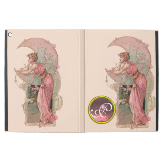 LADY OF THE MOON WITH FLOWERS IN PINK MONOGRAM iPad PRO CASE