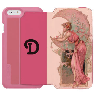 LADY OF THE MOON WITH FLOWERS IN PINK MONOGRAM iPhone 6/6S WALLET CASE