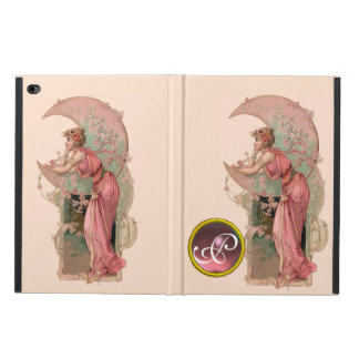 LADY OF THE MOON WITH FLOWERS IN PINK MONOGRAM POWIS iPad AIR 2 CASE