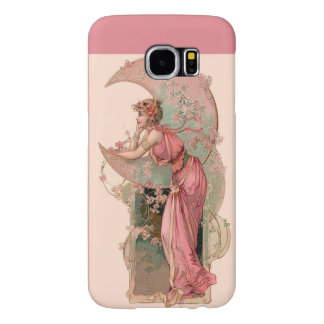 LADY OF THE MOON WITH FLOWERS IN PINK SAMSUNG GALAXY S6 CASE