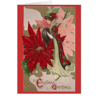 Lady of the Poinsettias Vintage Christmas Card