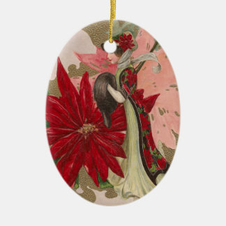 Lady of the Poinsettias Vintage Christmas Ceramic Ornament
