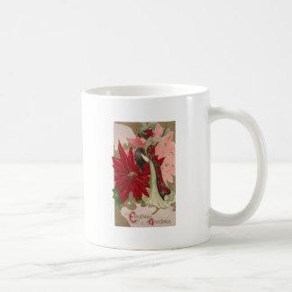 Lady of the Poinsettias Vintage Christmas Coffee Mug