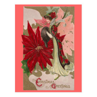Lady of the Poinsettias Vintage Christmas Postcards