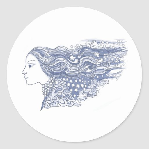 Lady of the Waves and Stars Classic Round Sticker