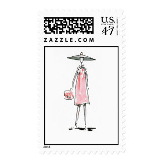 Lady off to Lunch Postage