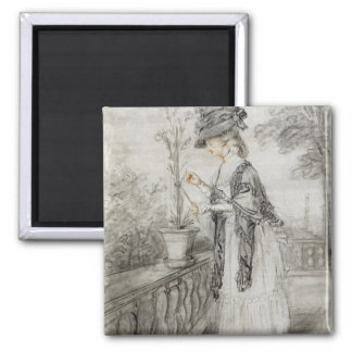 Lady on a Terrace Tending a Carnation Plant (black Magnet
