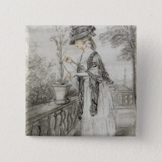 Lady on a Terrace Tending a Carnation Plant (black Pinback Button