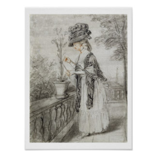 Lady on a Terrace Tending a Carnation Plant (black Poster