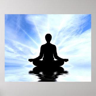 Lady on blue background meditation zen peace yoga poster