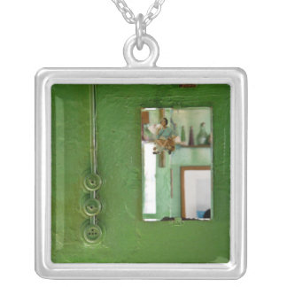 Lady on Mirror Square Pendant Necklace