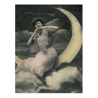 lady on moon smiling post card