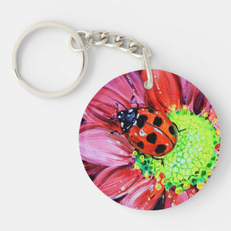 Lady on Red Keychain