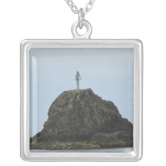Lady on the Rock Silver Plated Necklace
