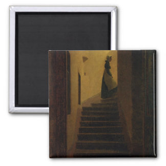 Lady on the Staircase 2 Inch Square Magnet