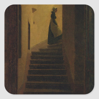 Lady on the Staircase Square Sticker