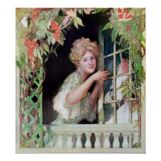 Lady Opening Window by Climbing Vine Poster