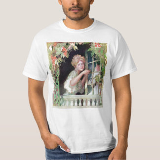 Lady Opening Window by Climbing Vine T-Shirt