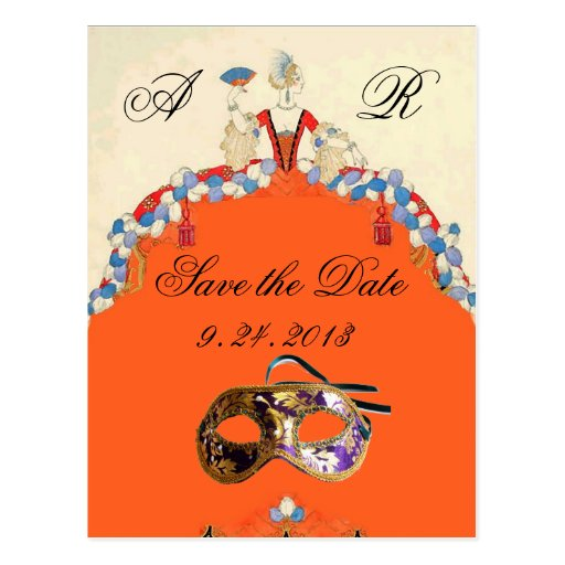 LADY ORANGE MASQUERADE  PARTY SAVE THE DATE POSTCARDS