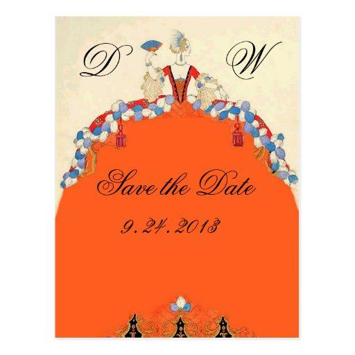 LADY ORANGE / WEDDING PARTY SAVE THE DATE MONOGRAM POSTCARD