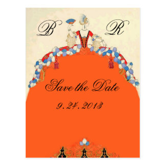 LADY ORANGE / WEDDING PARTY SAVE THE DATE MONOGRAM POSTCARD