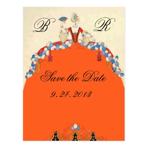 LADY ORANGE / WEDDING PARTY SAVE THE DATE MONOGRAM POST CARDS