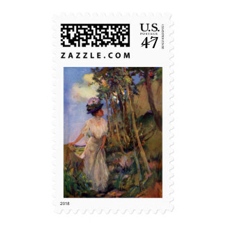 Lady Out Taking the Air Antique Illustration Postage