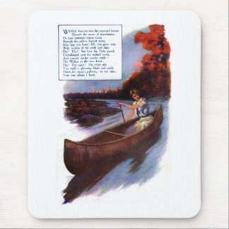 Lady Paddling Canoe Down Waterway Mouse Pad