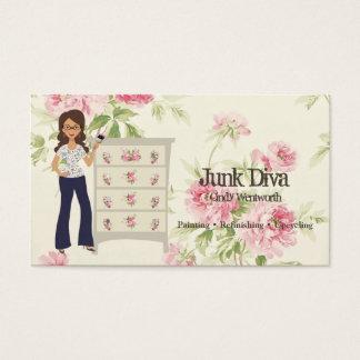 Lady Paintbrush Flower Dresser Roses Shabby Business Card