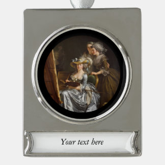 Lady Painter and Her Friends Silver Plated Banner Ornament