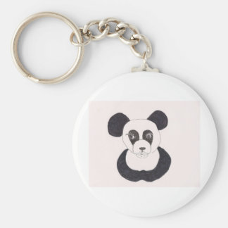 Lady Panda Basic Round Button Keychain