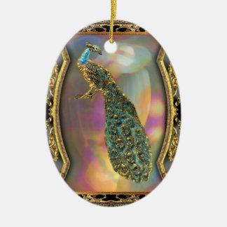 Lady Peacock Ceramic Ornament