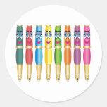 Lady Pens Cartoon Classic Round Sticker