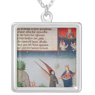 Lady Philosophy leads Boethius in flight Silver Plated Necklace