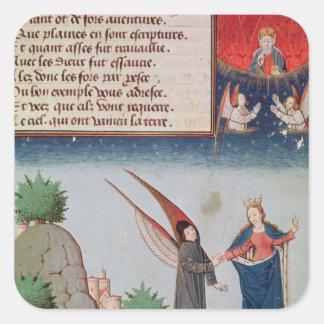 Lady Philosophy leads Boethius in flight Square Sticker