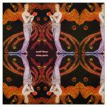 LADY PHOENIX ART DECO BEAUTY FASHION Orange Black Fabric