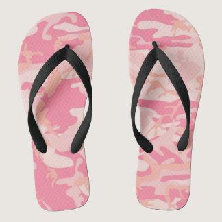 Lady pink style camo flip flops