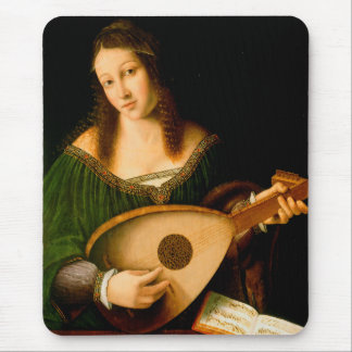 Lady Playing a Lute Fine Art Painting Mousepad