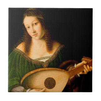 Lady Playing a Lute Fine Art Painting Tile