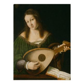 Lady Playing a Lute Poster