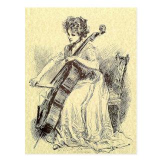 Lady Playing Cello Postcard