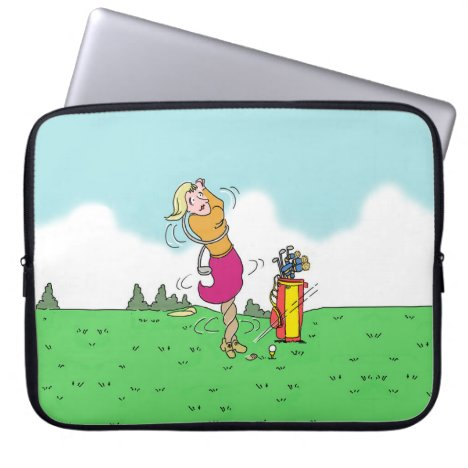 Lady Playing Golf and Getting in a Twist Computer Sleeve