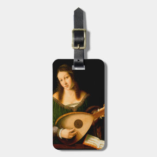 Lady Playing Lute Fine Art Painting Luggage Tag