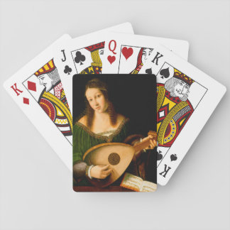 Lady Playing Lute Fine Art Painting Playing Cards