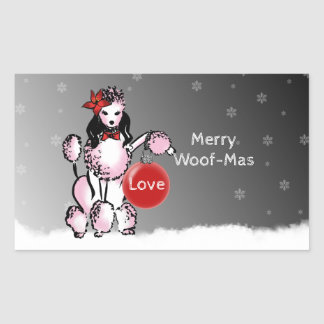 Lady Poodle shows your Christmas wishes! Rectangular Sticker