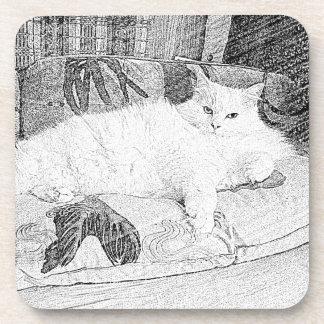 Lady Princess Kittie Lounging Sketch Drink Coaster