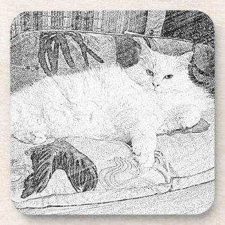 Lady Princess Kitty Lounging Sketch Drink Coaster