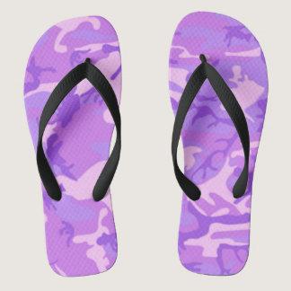 Lady purple style camo flip flops