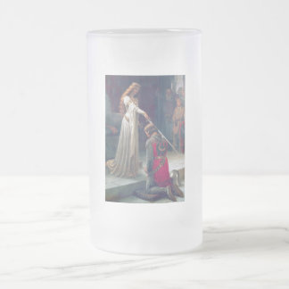 Lady queen knighting knight antique painting frosted glass beer mug