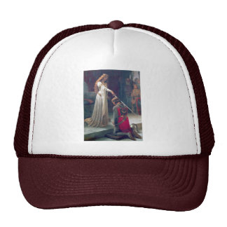 Lady queen knighting knight antique painting trucker hat